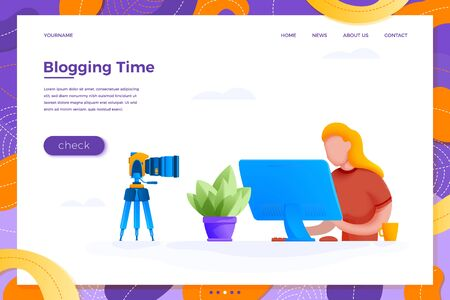 Vector online blogging concept girl with camera