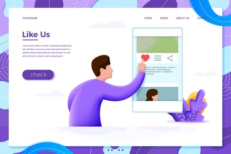 Vector illustration like us concept - man checking phone and like photo, isolated on white background. Banner, site, poster template with place for your text.