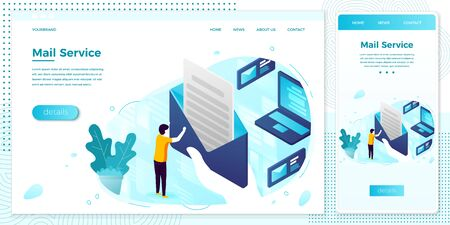 Vector online mailing service open letter web set