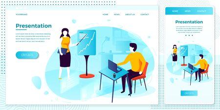 Vector web presentation meeting in office set