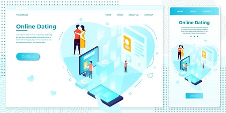Vector cross platform illustration set, browser and mobile phone - online dating mobile application, from search to kisses. ..Modern bright banner, site template with place for your text Иллюстрация