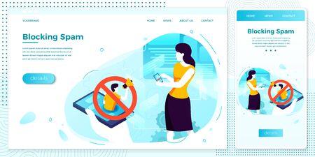 Vector illustration girl - mobile phone spam block