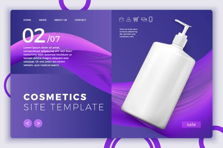 Vector 3d realistic cosmetic pump bottle on modern site template with typographic background. Mock-up for product package branding.