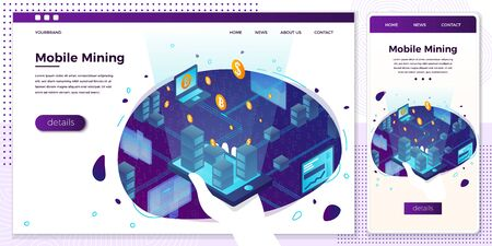 Vector cross platform illustration set, browser and mobile phone - cryptocurrency mining farm process, mans hand holding mobile phone and control money making...Modern bright banner, site template Ilustração