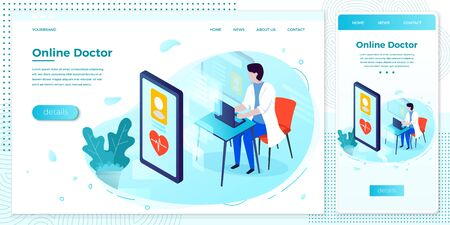 Vector cross platform illustration set, browser and mobile phone - online health consultation template, doctor with computer...Modern bright banner, site template with place for your text Illustration