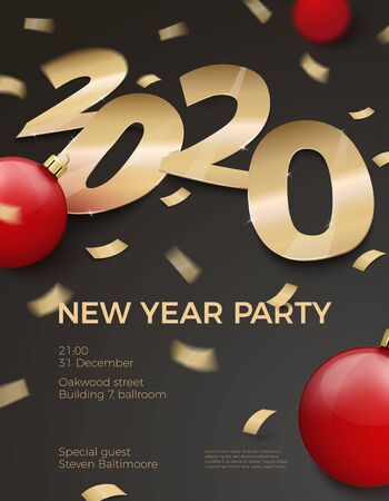 Vector 3d realistic New Year Party invitation with gold foil paper number 2020 laying on black surface, with red balls, confetti, shadows, perspective and blur.