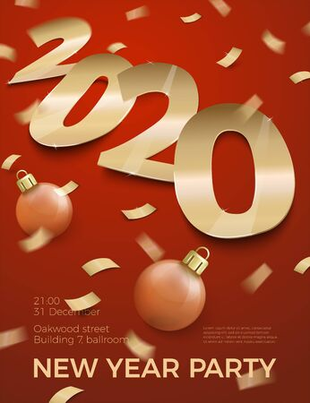 Vector New Year Party invitation paper number 2020 Ilustrace