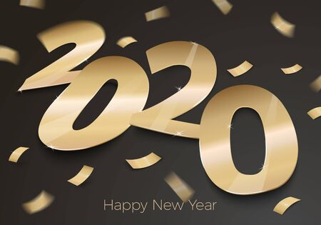 Vector New Year Party invitation paper number 2020 Reklamní fotografie - 133544612