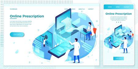 Vector web online stomach prescription doctor set Ilustracja