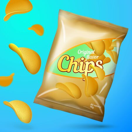Vector Chips advertisement template for your design, with chips flow and golden foil pack.