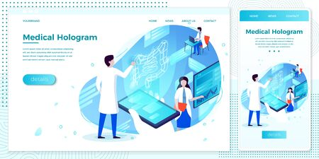 Vector cross platform illustration set, browser and mobile phone - esophagus health hologram help with doctor...Modern bright banner, site template with place for your text Ilustracja