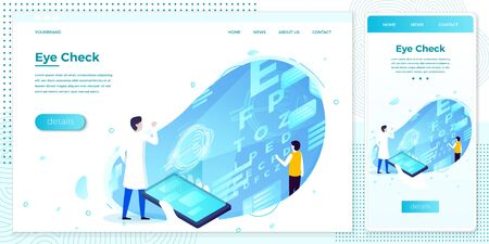 Vector cross platform illustration set, browser and mobile phone - eye checking health hologram help with doctor. ..Modern bright banner, site template with place for your text Zdjęcie Seryjne - 132884028