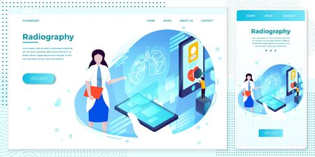 Vector cross platform illustration set, browser and mobile phone - lungs health hologram, help with assistant girl. ..Modern bright banner, site template with place for your text