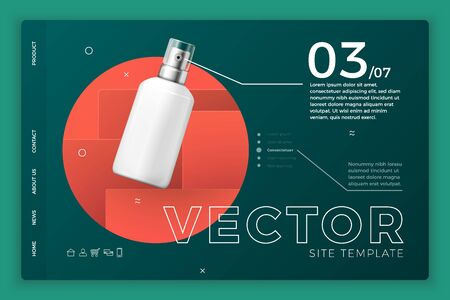 Vector 3d realistic cosmetic spray bottle on bright modern site template with typographic background. Mock-up landing page for product package branding.