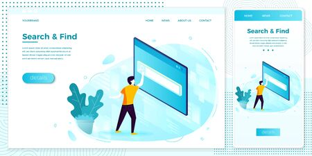 Vector illustration man in searching process set