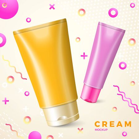 Vector bright cream package mockup with abstract memphis style radiant gradient liquid and geometric shapes.