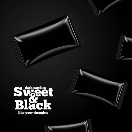 Vector mockup template on black candies pack Stock Illustratie