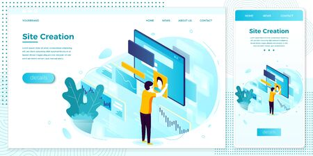 Vector cross platform illustration set, browser and mobile phone - site creation process. Modern bright banner, site template with place for your text