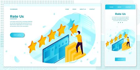 Vector illustration man with stars, rating system