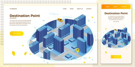 Vector cross platform illustration set, browser and mobile phone - car route from beginning to destination point...Modern bright banner, site template with place for your text
