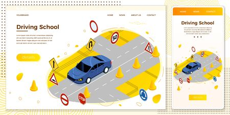 Wektor Szkoła jazdy, droga ze znakami i stożkami