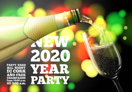 Vector New Year Banner with transparent champagne glass and bottle on bright background with blurred xmas tree. Ilustração