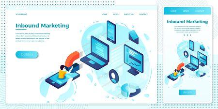Vector online web inbound marketing, magnet man