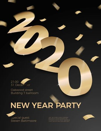 Vector New Year Party invitation gold foil paper