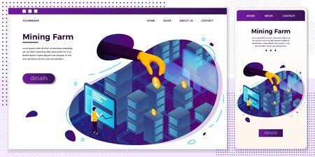 Vector online cryptocurrency mining farm web set Ilustrace