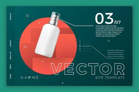 Vector cosmetic spray bottle modern site template Ilustrace
