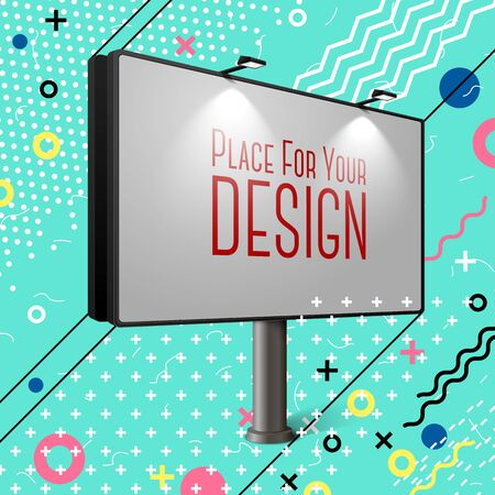Vector bright billboard abstract memphis style eps