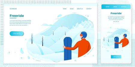 Vector winter set freeride man with snowboard