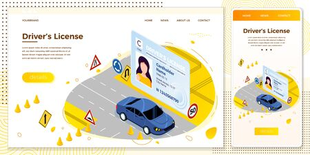 Vector Drivers license, car riding on a road