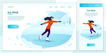 Vector winter illustration set - ice skating girl
