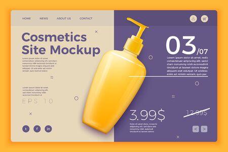 Vector cosmetic pump bottle modern site template Reklamní fotografie - 133544668