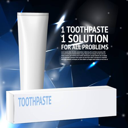 Vector toothpaste template, with box and tube.