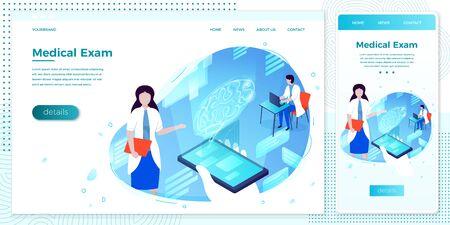Vector brain health hologram online assistant girl Ilustracja