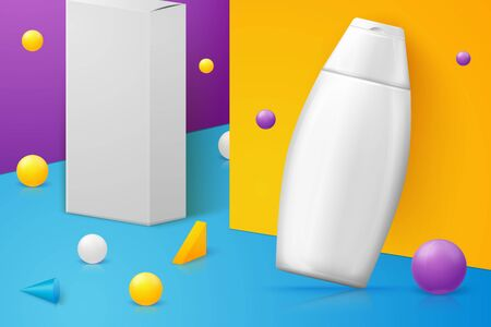 Vector abstract scene shampoo bottle and paper box
