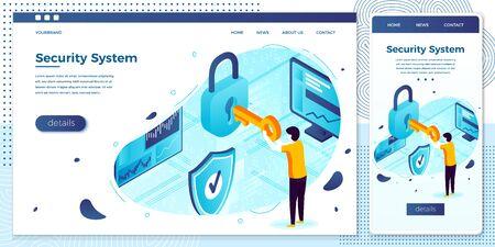 Vector man with key and lock, Data Protection Illusztráció