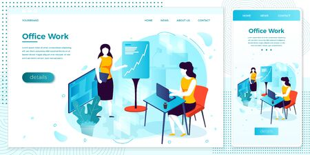Vector women with notebook, working in office Illustration
