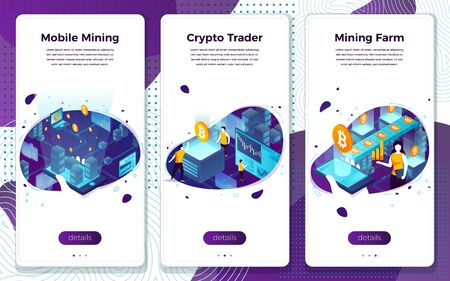 Vector set crypto currency mining, trading farming
