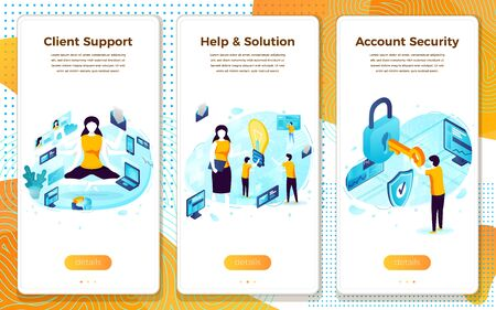 Vector client service, online help assistant girl Illusztráció