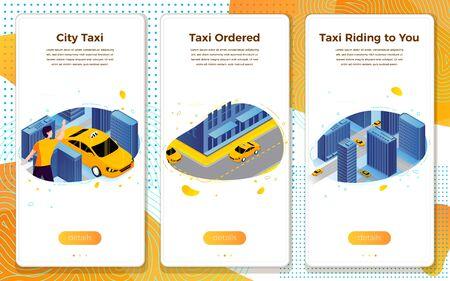 Vector taxi service application car riding in town