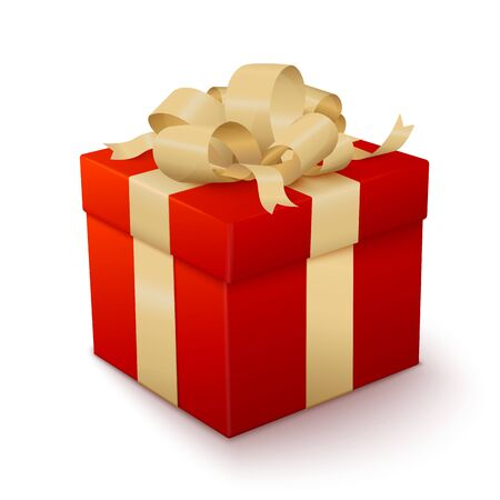 Vector realistic red gift box with golden bow