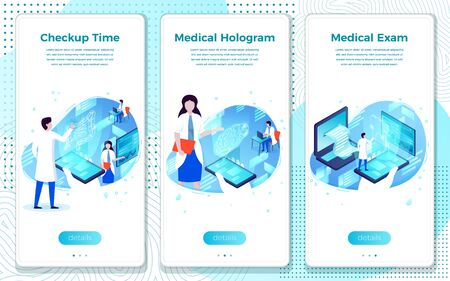 Vector mobile illustration set - health checkup help, hologram with patient girl. Modern bright banner template with place for your text.
