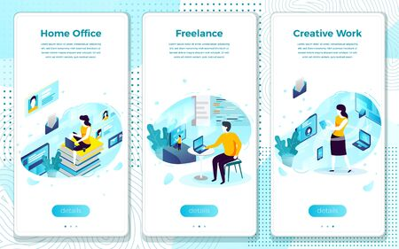 Vector mobile illustration set - freelancer home office for creative work. Modern bright banner, site template with place for your text.