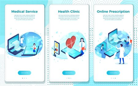 Vector mobile illustration set - Medical service, Online health clinic. Modern bright banner, site template with place for your text.