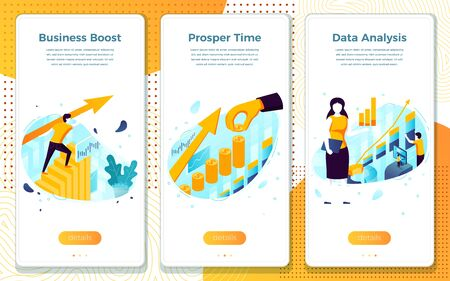 Vector mobile illustration set - office work, business boost, assistant girl. Modern bright banner, site template with place for your text.