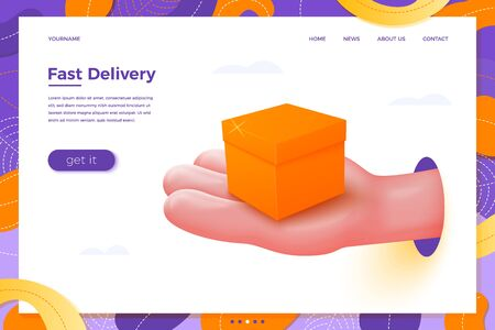 Vector site delivery banner concept - cartoon 3d realistic hand holding orange present box, with place for your text and button, landing page template.