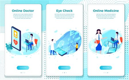 Vector mobile illustration set - online Doctor help, medicine and eye check. Modern bright banner, site template with place for your text.